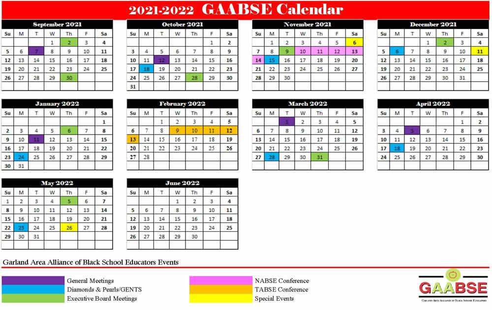 2021-2022 GAABSE Calendar